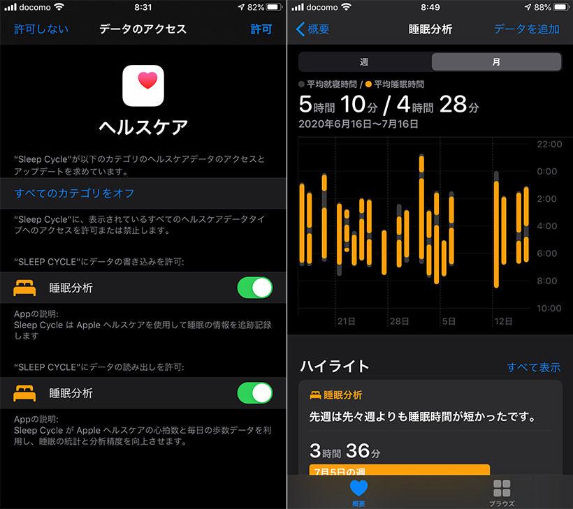 iOSのヘルスケアと連携