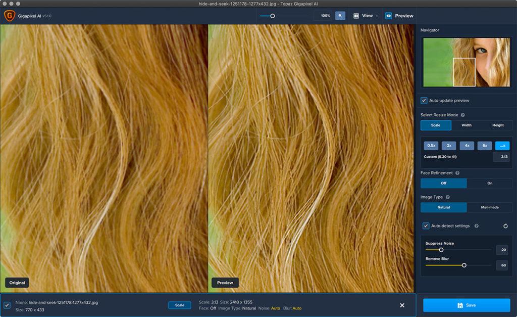 人物の髪の毛部分を拡大
