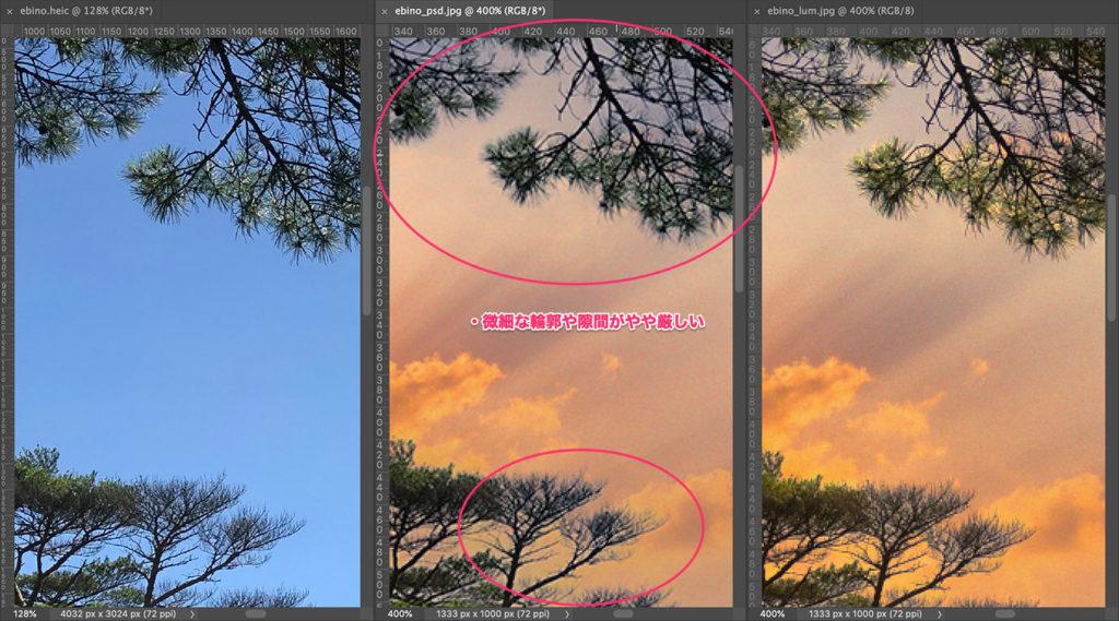 遠景の松の葉先と隙間は、どうしても条件的に厳しい