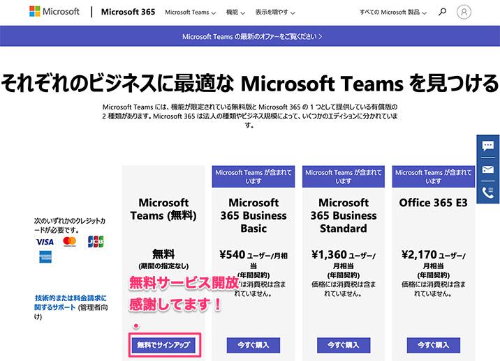 Microsoft Teamsのプラン一覧