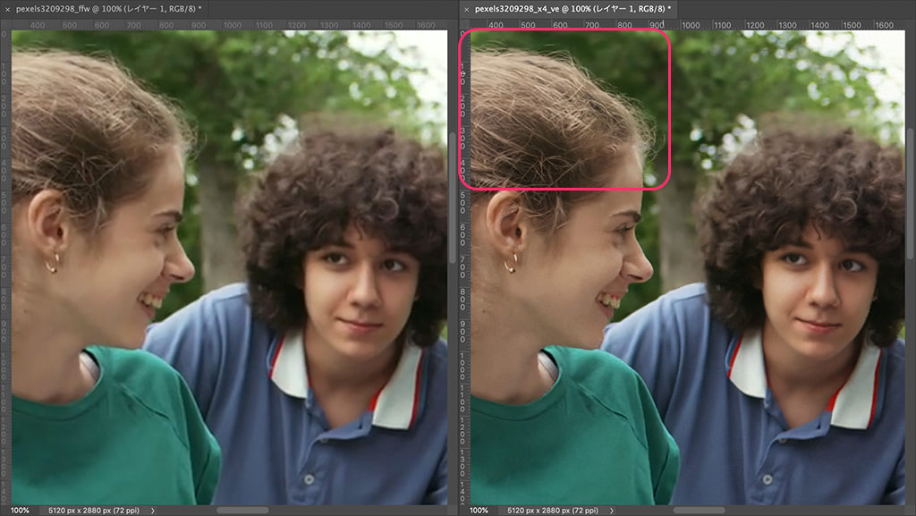 髪の毛などのディテールを中心に、違いがはっきり出る
