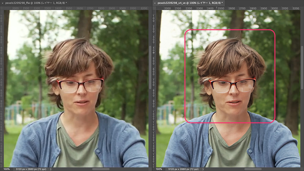 メガネのレンズ越しの目やフレームもくっきり