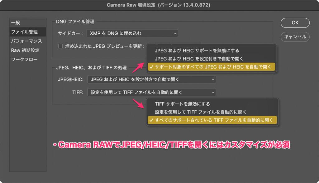 Camera RAWでJPEG/HEIC/TIFFを開くにはカスタマイズが必須